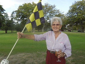 Shirley Rattray celebrating her Hole in One