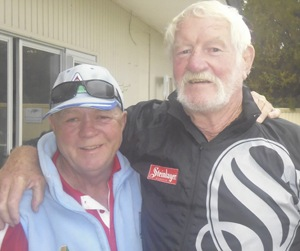 Robert Murray and former All Black  and coach Alex 'Grizz ' Wyllie MBE at the recent Bottle – O - Fours Tournament.